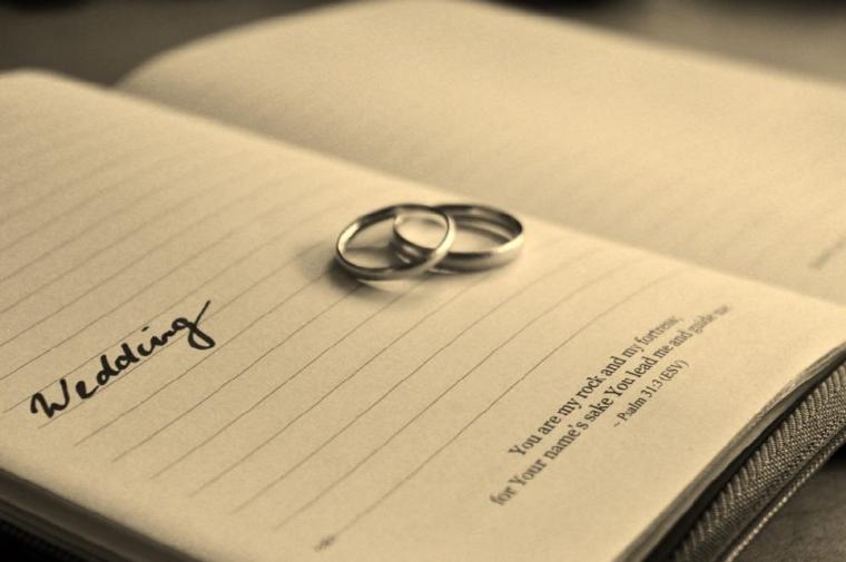 本と結婚指輪