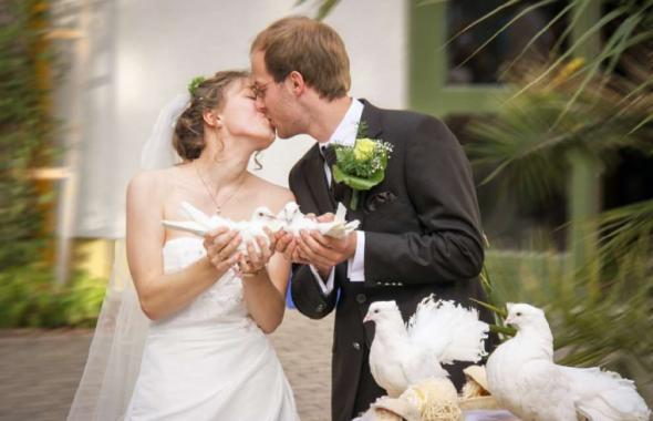 誓いのキスをする夫婦